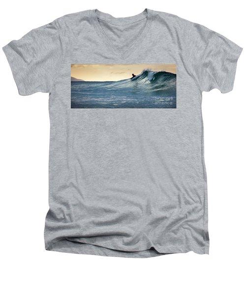 Hawaii Bodysurfing Sunset Polihali Beach Kauai  Men's V-Neck T-Shirt