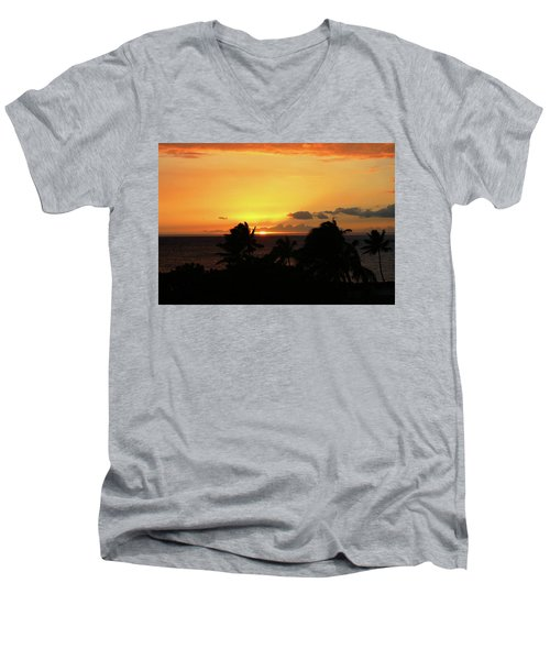 Men's V-Neck T-Shirt featuring the photograph Hawaiian Sunset by Anthony Jones