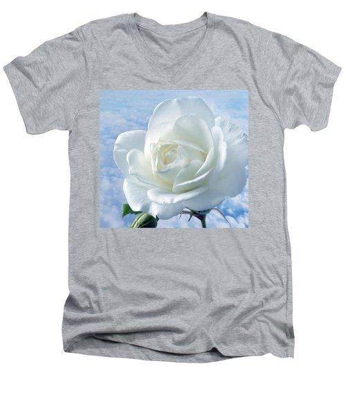 Heavenly White Rose. Men's V-Neck T-Shirt by Terence Davis