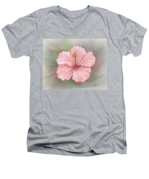 Men's V-Neck T-Shirt featuring the painting Hibiscus  by Bonnie Willis