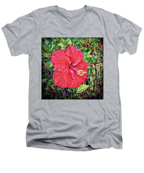 Men's V-Neck T-Shirt featuring the photograph Hibiscus Flower by Lewis Mann