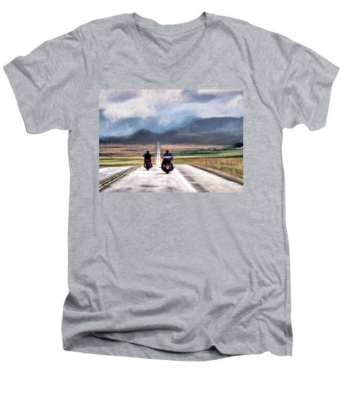 Men's V-Neck T-Shirt featuring the photograph Highway In The Wind by Jim Hill