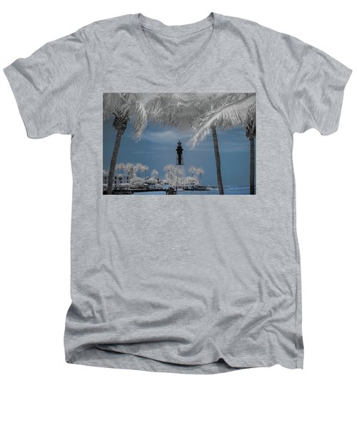 Men's V-Neck T-Shirt featuring the photograph Hillsboro Inlet Lighthouse by Louis Ferreira