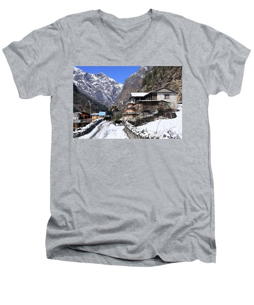Men's V-Neck T-Shirt featuring the photograph Himalayan Mountain Village by Aidan Moran