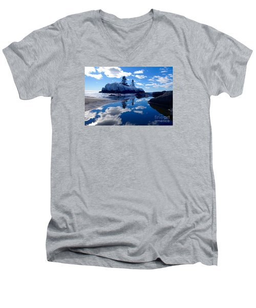 Hollow Rock Reflections Men's V-Neck T-Shirt by Sandra Updyke