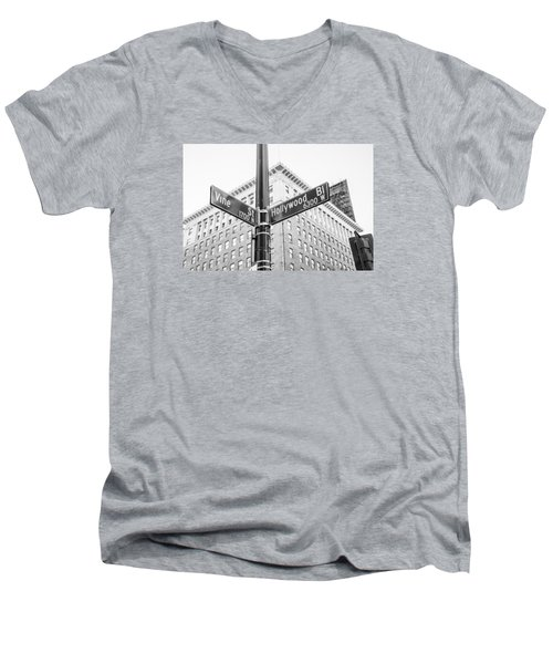Hollywood And Vine Street Sign Men's V-Neck T-Shirt