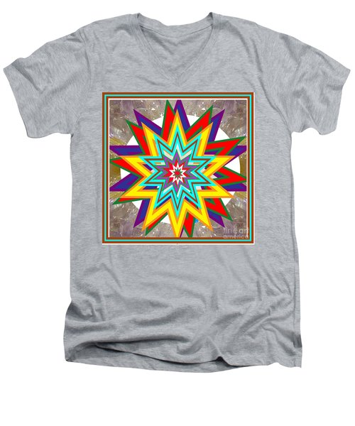 Holy Star White Purple Blue On Crystal Stone Marble Unique Shades Tones Textures Buy Wall Decoration Men's V-Neck T-Shirt