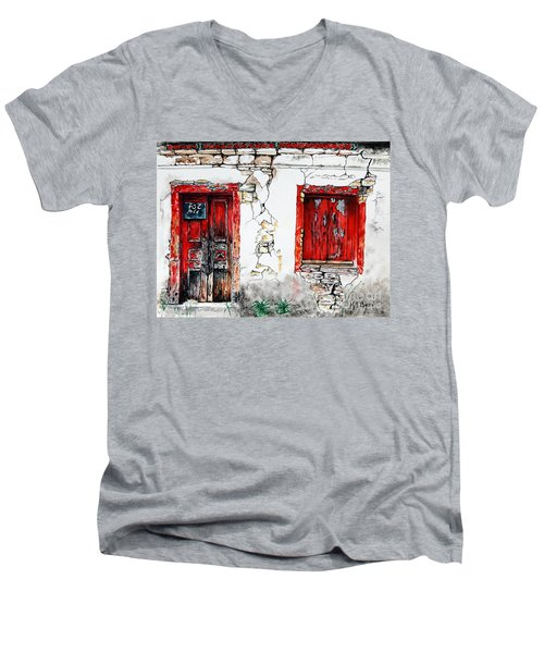 Men's V-Neck T-Shirt featuring the painting House For Sale by Maria Barry