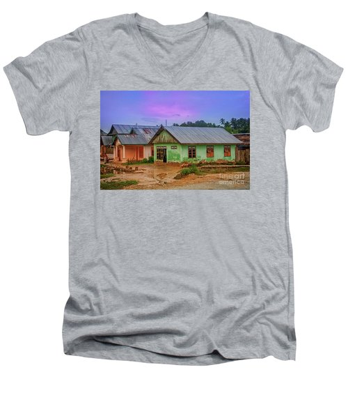 Men's V-Neck T-Shirt featuring the photograph Houses by Charuhas Images