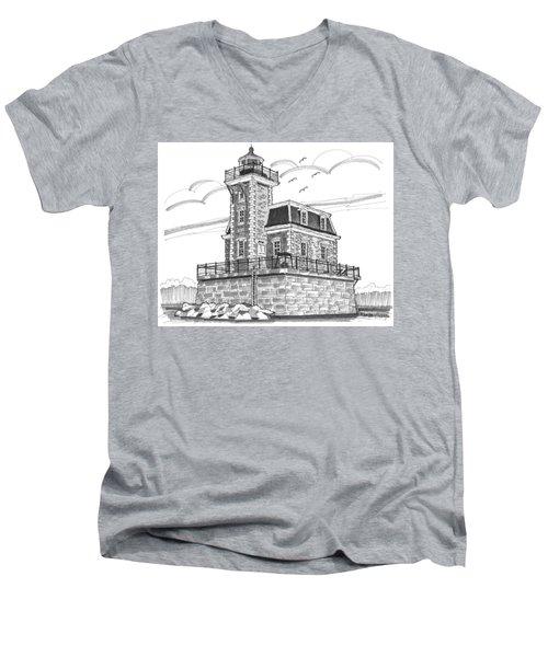 Hudson-athens Lighthouse Men's V-Neck T-Shirt