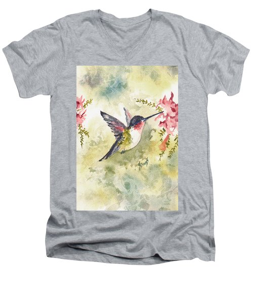 Hummingbird Men's V-Neck T-Shirt by Sam Sidders