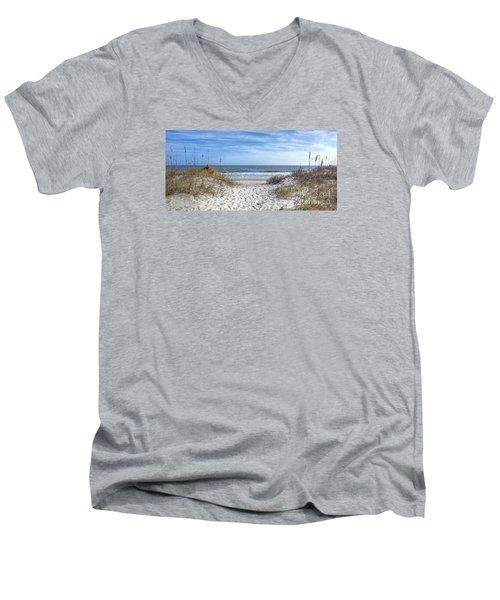 Huntington Beach South Carolina Men's V-Neck T-Shirt by Kathy Baccari