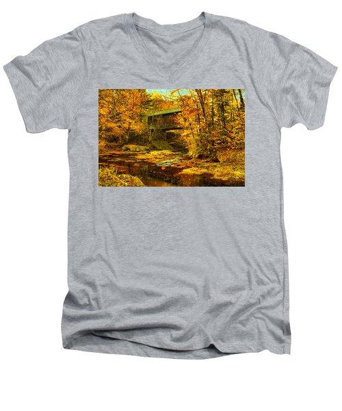 Hutchins Bridge Men's V-Neck T-Shirt by John Selmer Sr