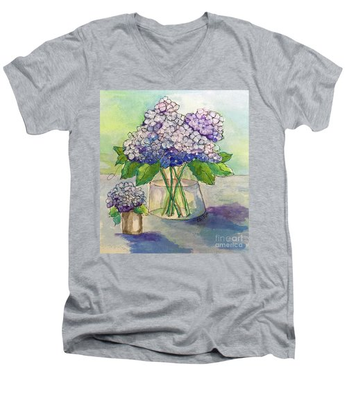 Men's V-Neck T-Shirt featuring the painting Hydrangea  by Rosemary Aubut