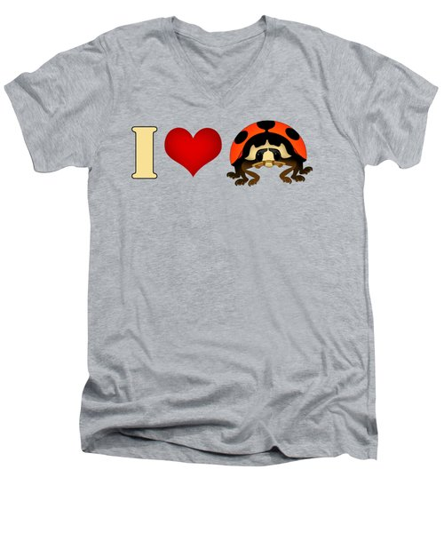 I Love Ladybugs Men's V-Neck T-Shirt by Sarah Greenwell