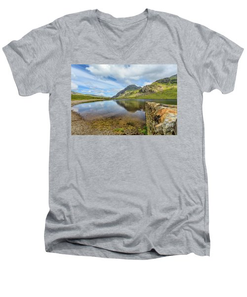 Men's V-Neck T-Shirt featuring the photograph Idwal Lake Snowdonia by Adrian Evans