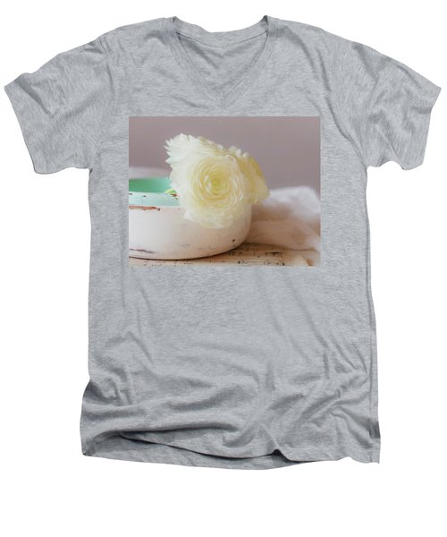 Men's V-Neck T-Shirt featuring the photograph In A White Bowl by Kim Hojnacki