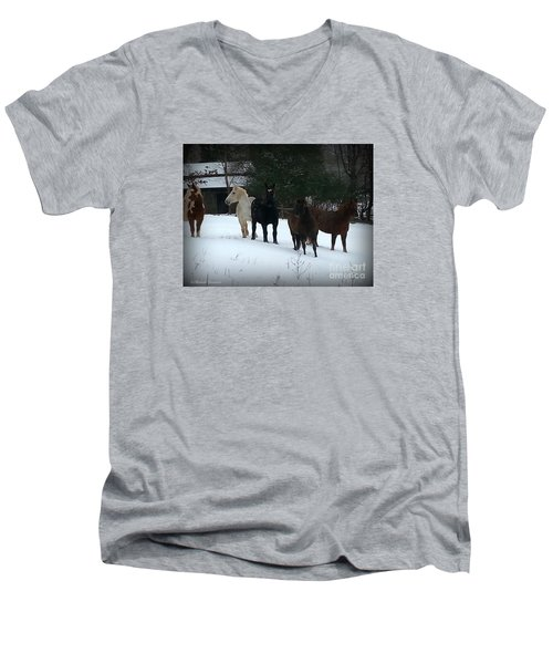 It Snowed Men's V-Neck T-Shirt