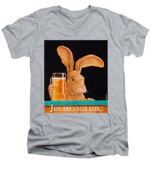 Jack And A Beer Back... Men's V-Neck T-Shirt