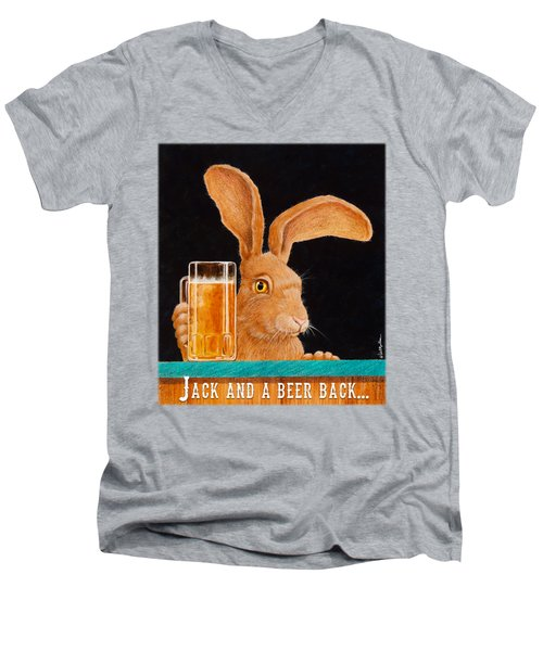 Jack And A Beer Back... Men's V-Neck T-Shirt
