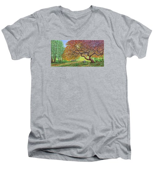 Japanese Maple Men's V-Neck T-Shirt by Jane Girardot