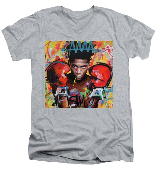Men's V-Neck T-Shirt featuring the painting Jean Michel Basquiat by Richard Day
