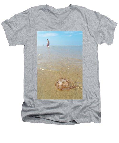 Jellyfish On Beach Men's V-Neck T-Shirt by Hans Engbers