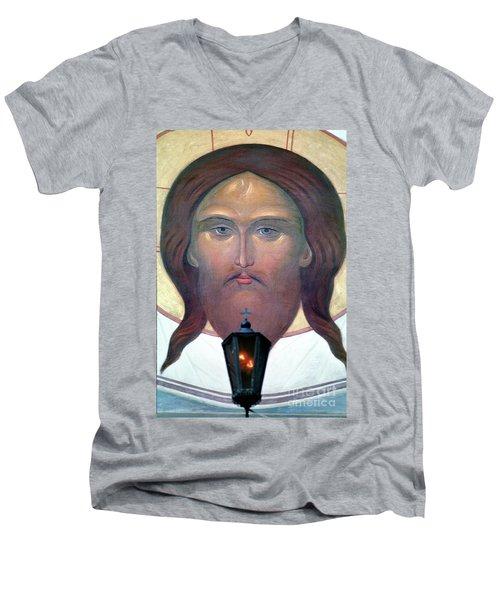 Jesus Icon At The Trinity Lavra Of St. Sergius Monastery In Sergiev Posad Men's V-Neck T-Shirt by Wernher Krutein
