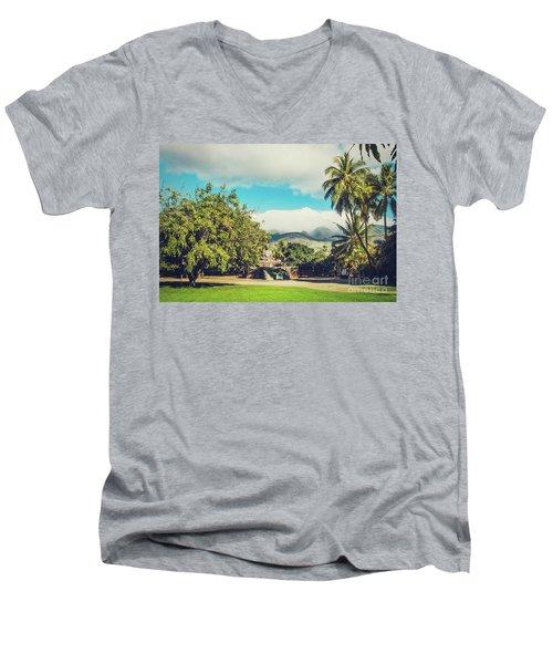 Men's V-Neck T-Shirt featuring the photograph Jodo Shu Mission Lahaina Maui Hawaii by Sharon Mau