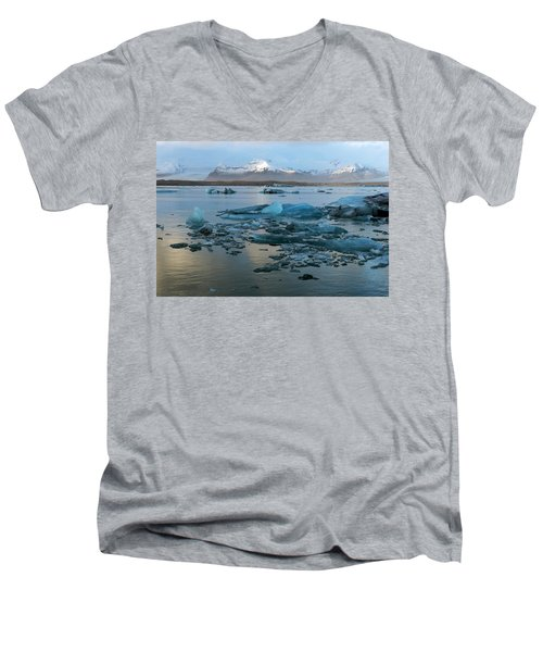 Men's V-Neck T-Shirt featuring the photograph Jokulsarlon, The Glacier Lagoon, Iceland 5 by Dubi Roman