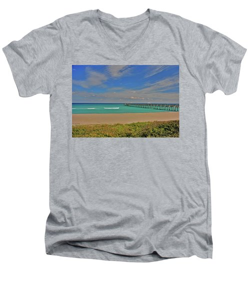 Men's V-Neck T-Shirt featuring the photograph 1- Juno Beach Pier by Joseph Keane