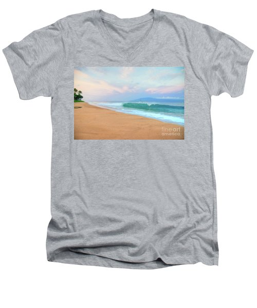 Men's V-Neck T-Shirt featuring the photograph Ka'anapali Waves by Kelly Wade