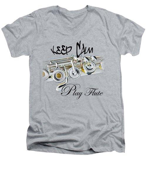 Keep Calm Play Flute  Men's V-Neck T-Shirt