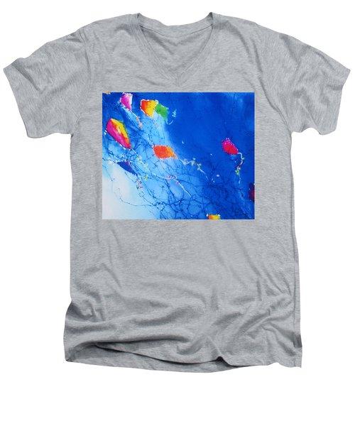 Kite Sky Men's V-Neck T-Shirt by Anne Duke