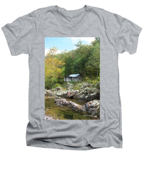 Men's V-Neck T-Shirt featuring the photograph Klepzig Mill by Julie Clements