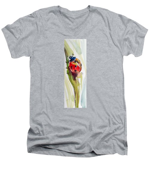 Ladybird Men's V-Neck T-Shirt by Kovacs Anna Brigitta