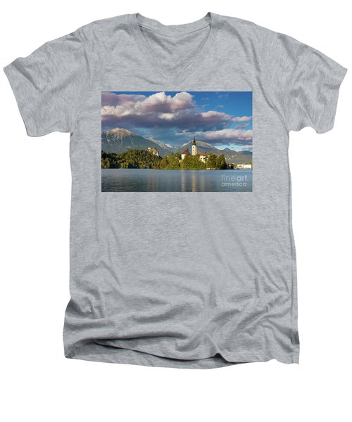 Men's V-Neck T-Shirt featuring the photograph Lake Bled Evening by Brian Jannsen