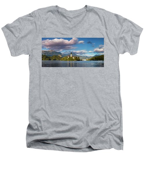 Men's V-Neck T-Shirt featuring the photograph Lake Bled Panoramic by Brian Jannsen