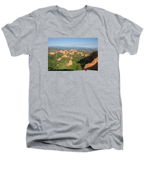 Men's V-Neck T-Shirt featuring the photograph Las Medulas by Christian Zesewitz
