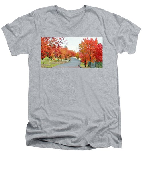 Men's V-Neck T-Shirt featuring the photograph Last Days Of Autumn by AJ Schibig