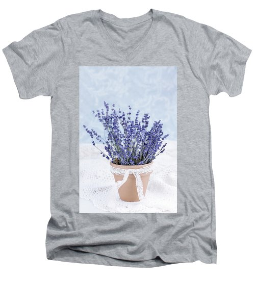 Lavender Men's V-Neck T-Shirt by Stephanie Frey