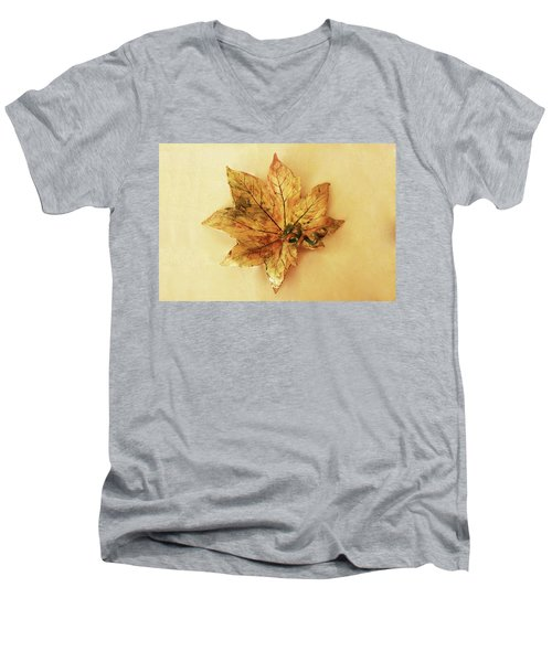 Leaf Plate1 Men's V-Neck T-Shirt by Itzhak Richter