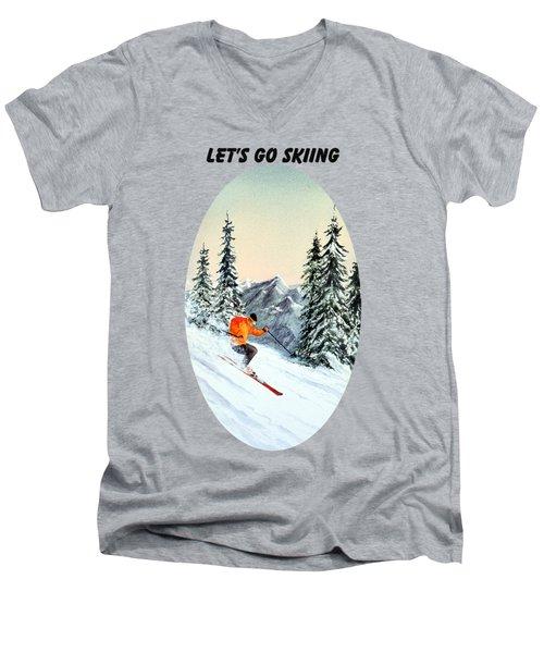 Let's Go Skiing Men's V-Neck T-Shirt