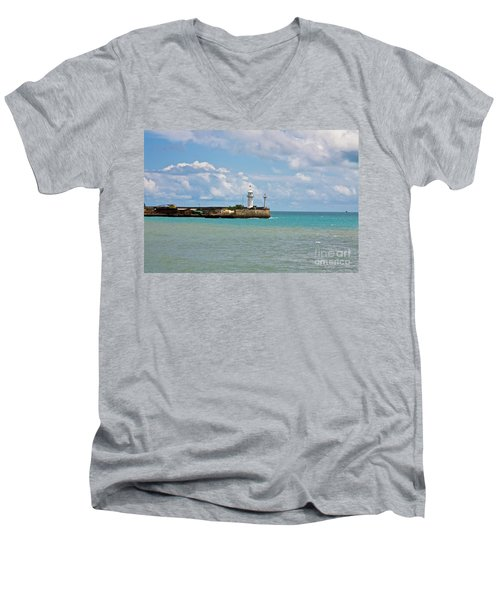 Lighthouse Men's V-Neck T-Shirt by Irina Afonskaya
