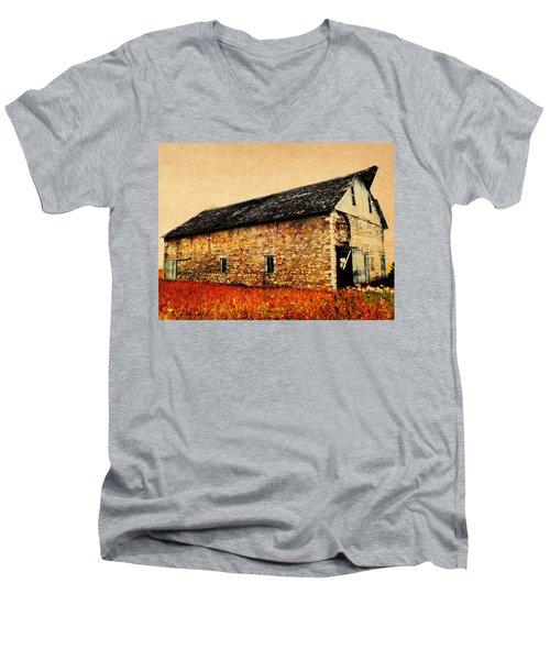 Lime Stone Barn Men's V-Neck T-Shirt by Julie Hamilton