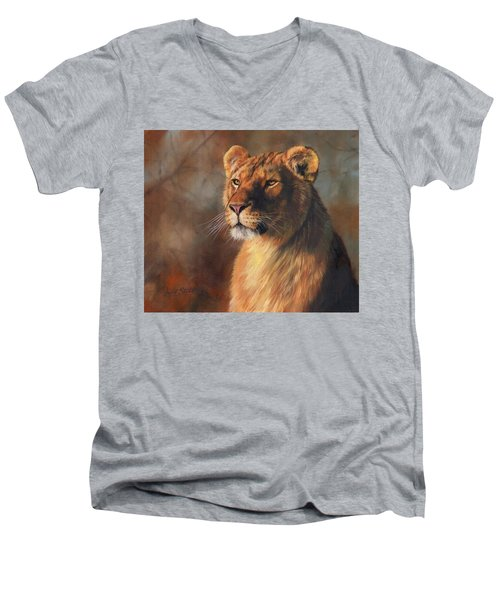 Lioness Portrait Men's V-Neck T-Shirt by David Stribbling