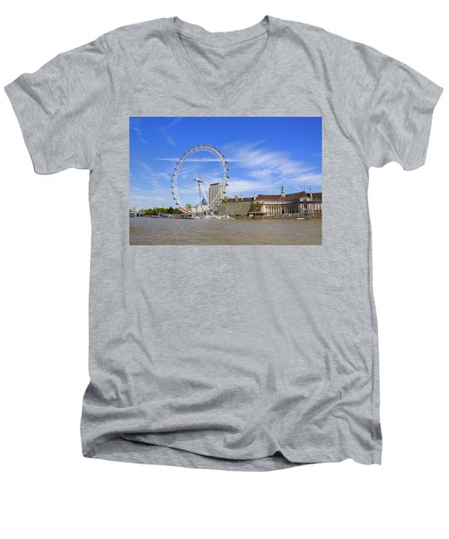 London Eye Men's V-Neck T-Shirt by Joana Kruse