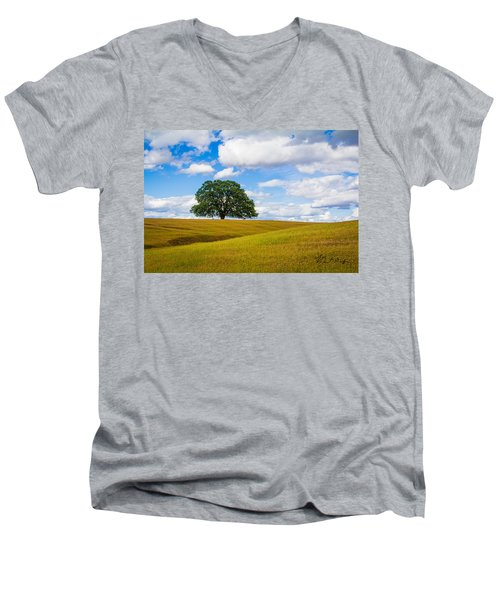 Men's V-Neck T-Shirt featuring the photograph Lone Oak by Vincent Bonafede