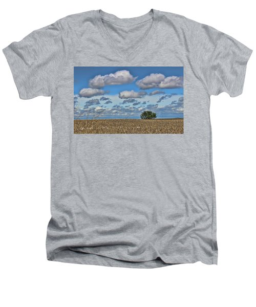Lone Tree Men's V-Neck T-Shirt by Sylvia Thornton
