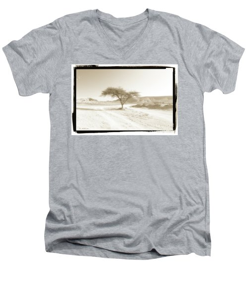 Lonely Tree Men's V-Neck T-Shirt by Arik Baltinester